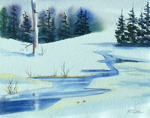 Watercolor lesson on painting evergreen trees - P.J. Cook Artist ...