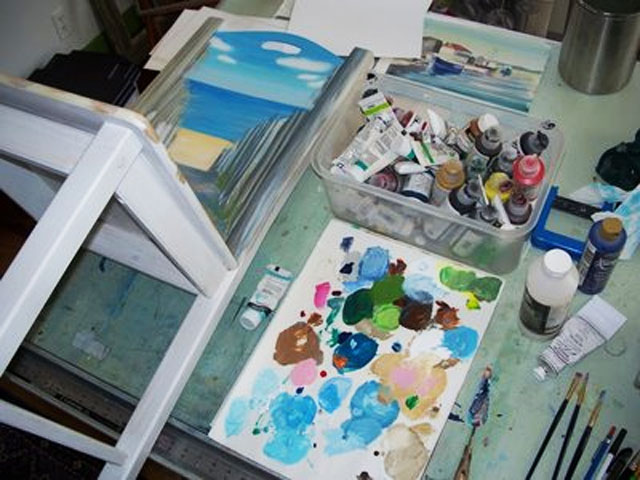 Update: beach painting on chair project.