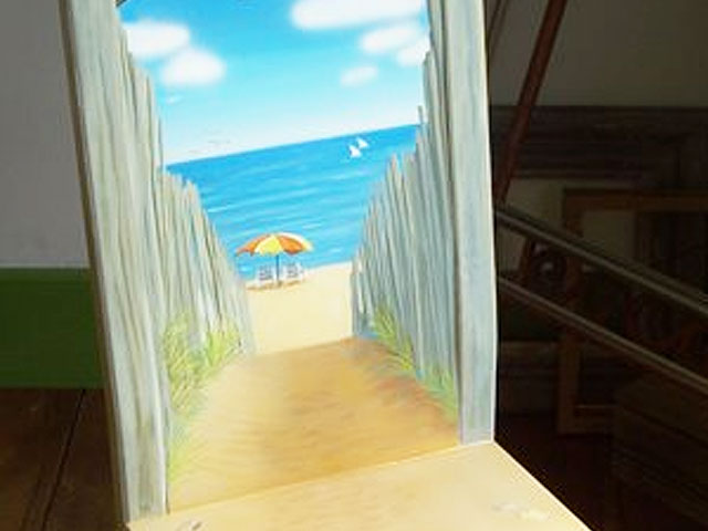 Seascape Painting Finished – Beach scene painted on chair