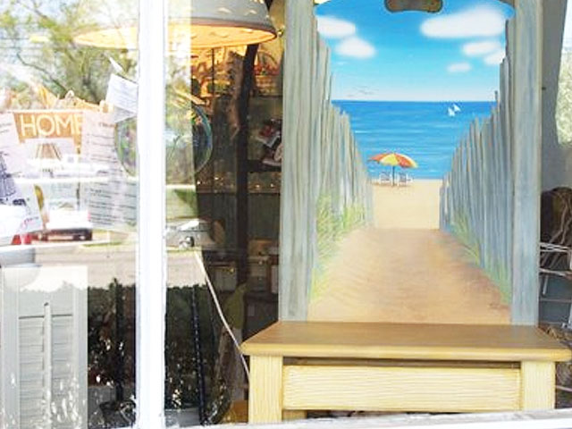Footprints Leading To The Beach Painting On Display