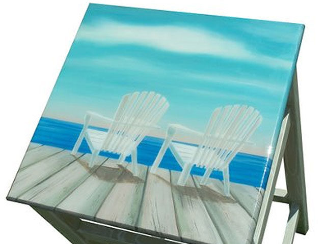 Decorative Bar Stool – hand painted blue beach scene