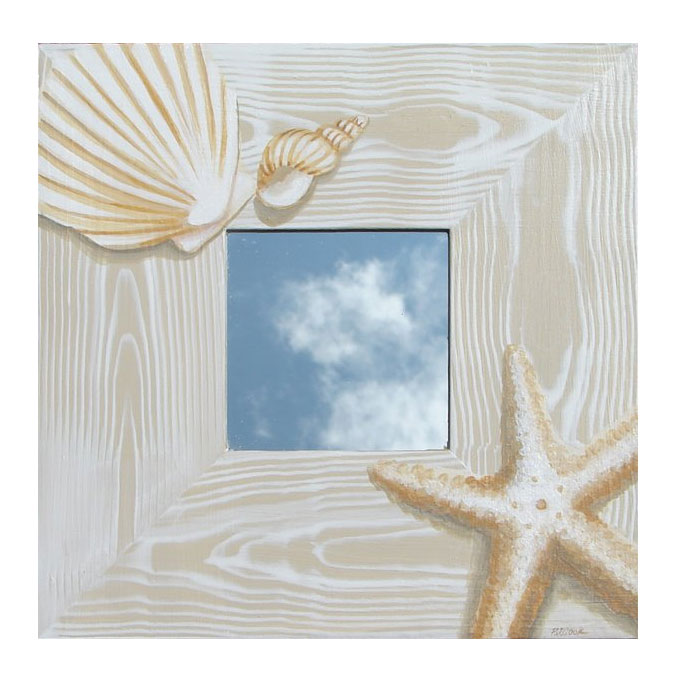Hand Painted Seashell Mirror