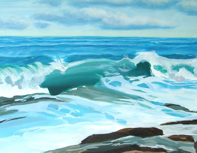 Seascape Painting In Oil –  Step 4 of Ocean Wave Painting