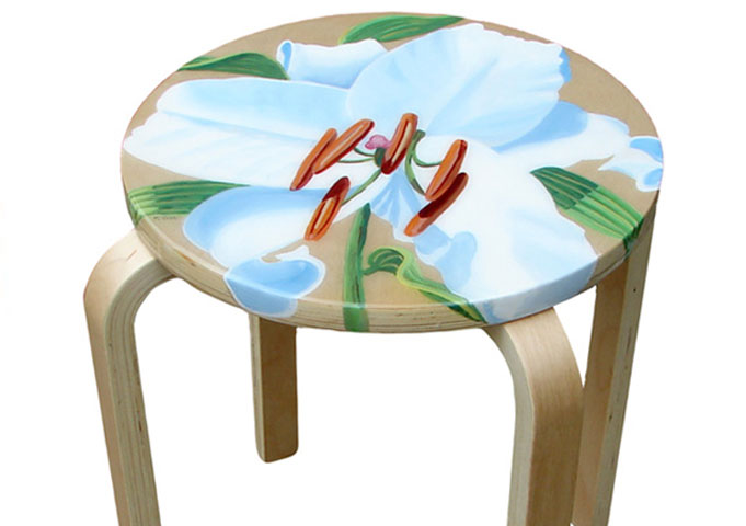 Hand Painted Table with White Lily