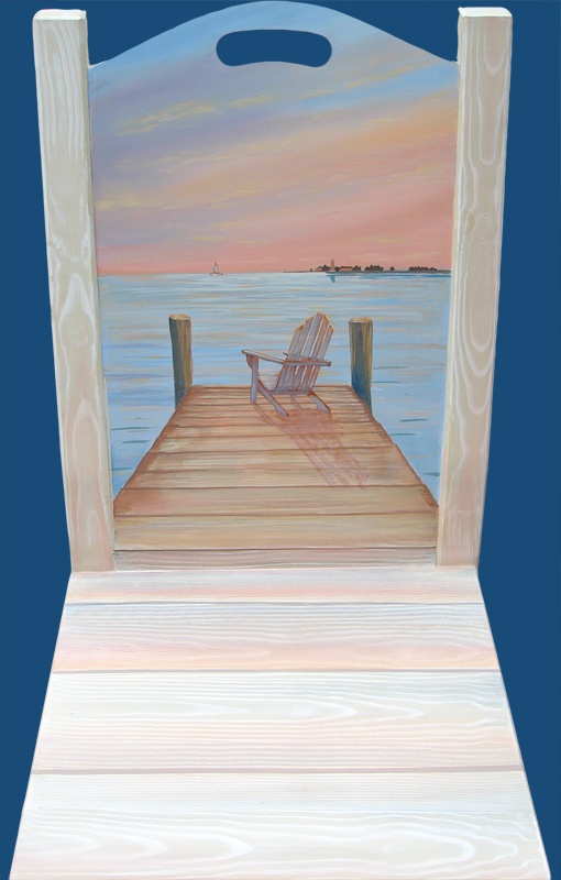 hand painted chair with seascape