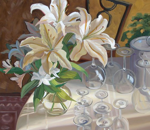 Original Still Life with Flowers painted in oil on a 24″ x 30″ canvas