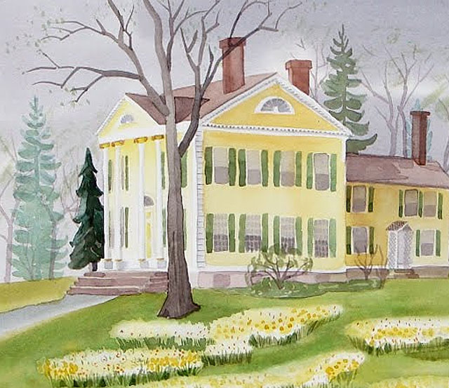 Continuing My Watercolor Painting of the Florence Griswold Museum In Spring
