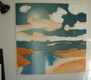 blue moonlight oil painting underway