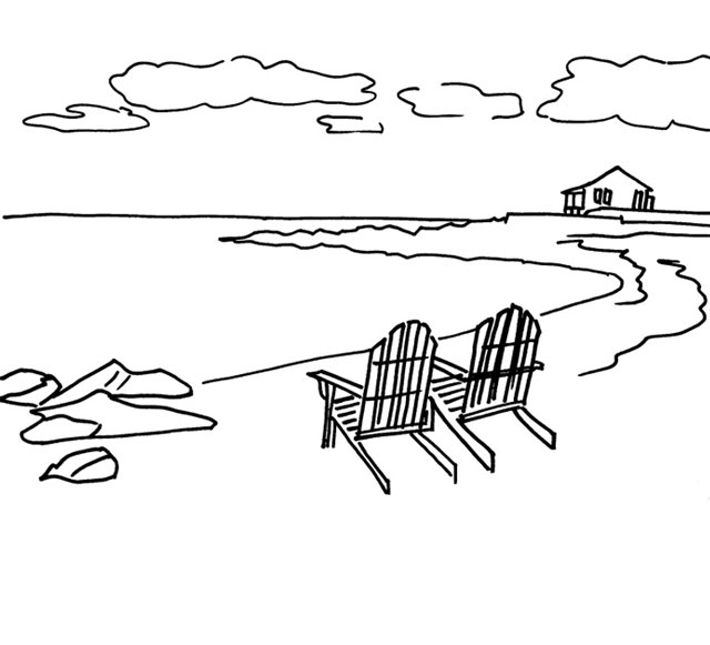 Planning the Composition of a Painting – Line Drawing and Values for a Seascape