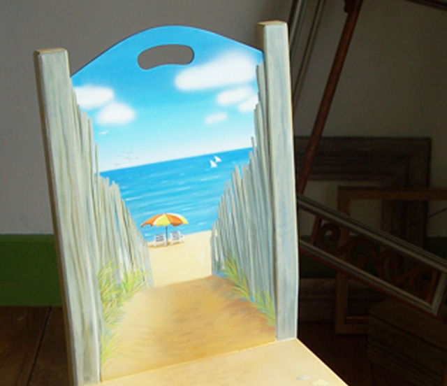Starting New Project – Seascape on Wood Chair