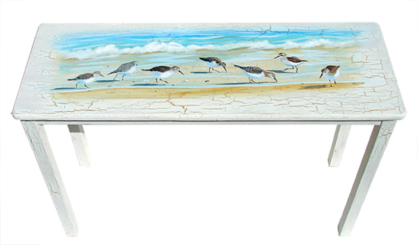 Beach Cottage Furniture U2013 Sandpiper Birds Painted On A Sofa Table