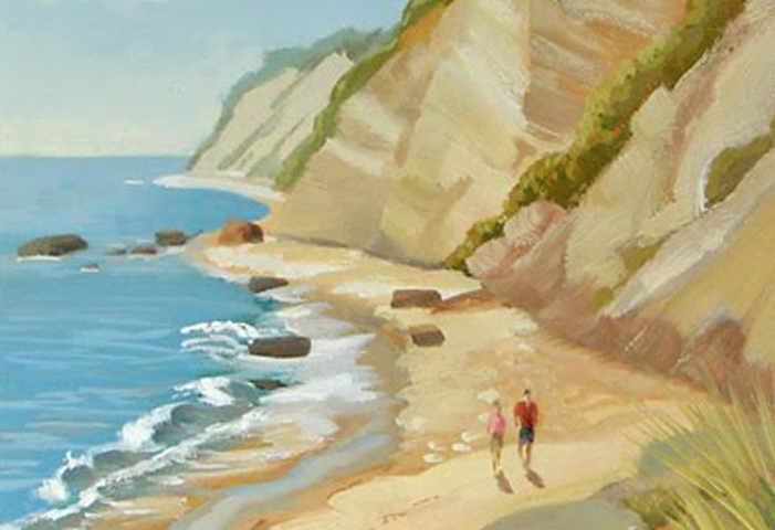 Seascape of Block Island Beach Finished!    Final Step In 8″x 10″ Oil Painting