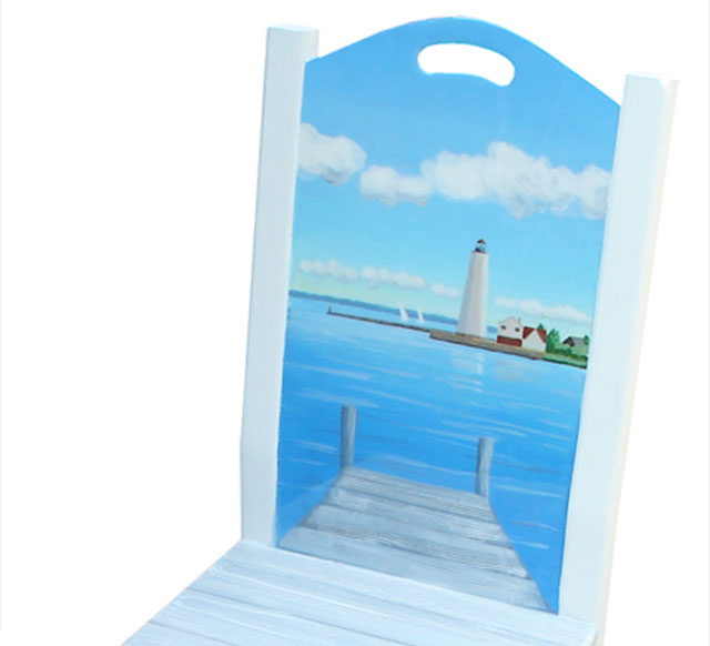 New Decorative Chair – Hand Painted with Lynde Lighthouse, Old Saybrook, CT