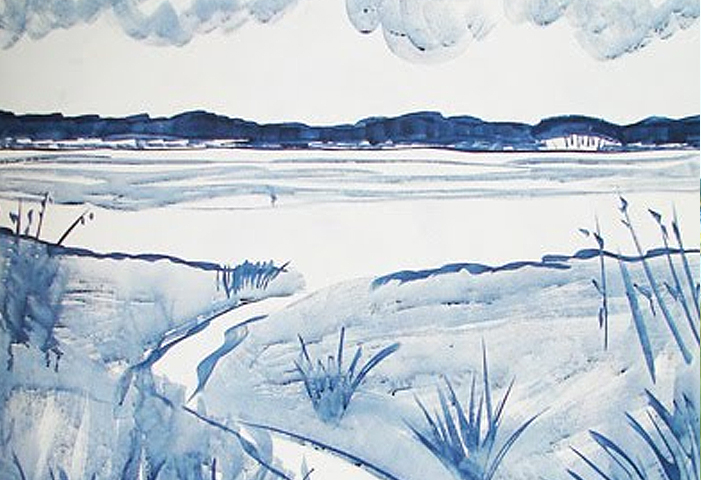 Rough Sketch for a New Acrylic Painting – Seascape of a Marsh and Dunes