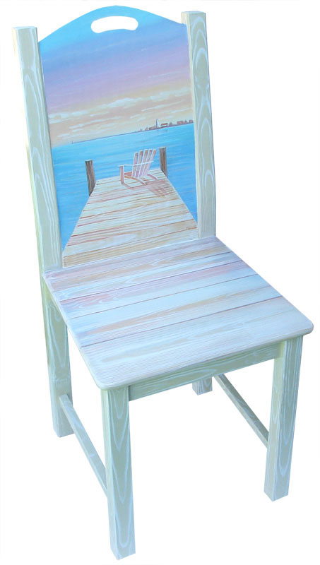hand painted chair with dock and sunset