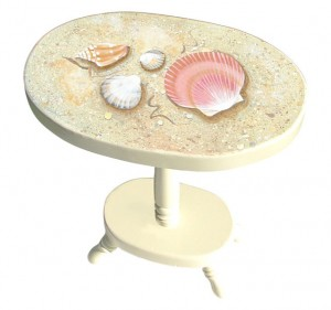 hand painted seashell cottage table