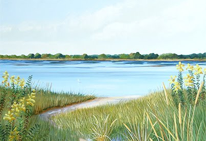 Acrylic Seascape On Canvas In the Works – Sand Dune Path Leading to the Water