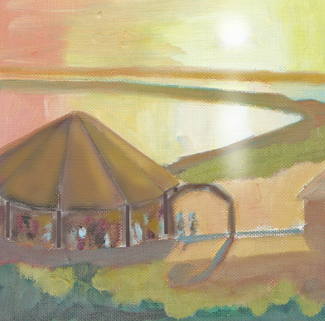 Sketch for Oil Painting of Watch Hill Sunset with Carousel