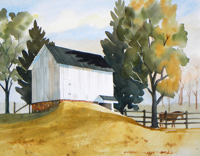 watercolor painting of small barn and horse