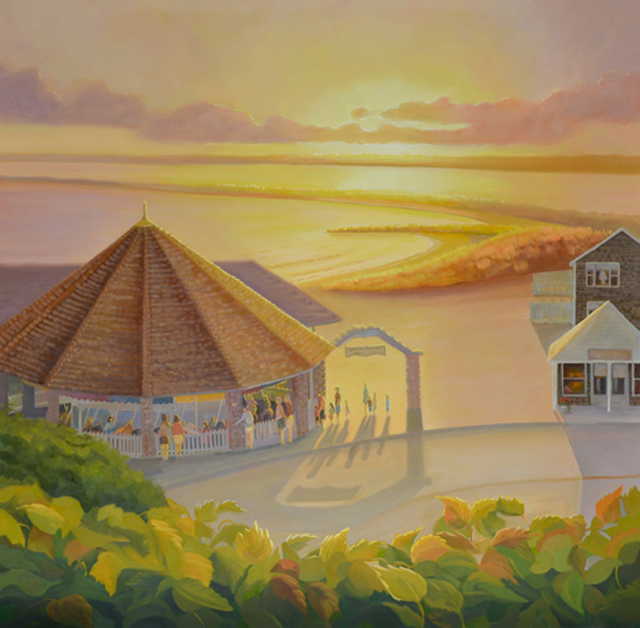 Large Oil Painting of Sun-setting at Watch Hill RI Carousel