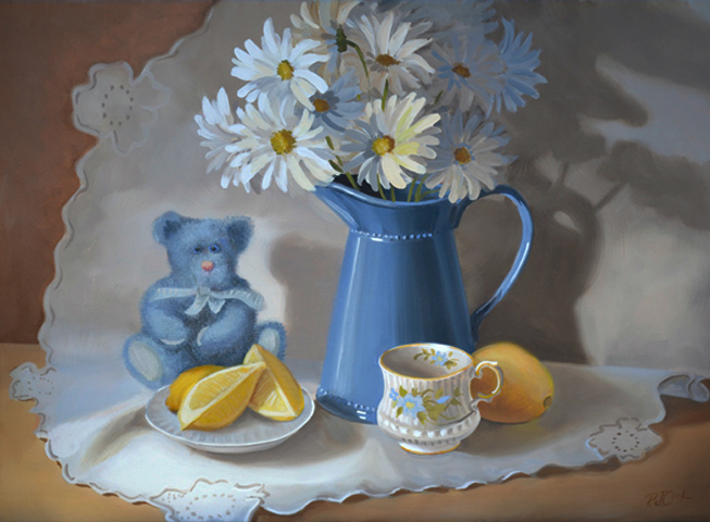 Blue and Yellow Still Life With Daisies