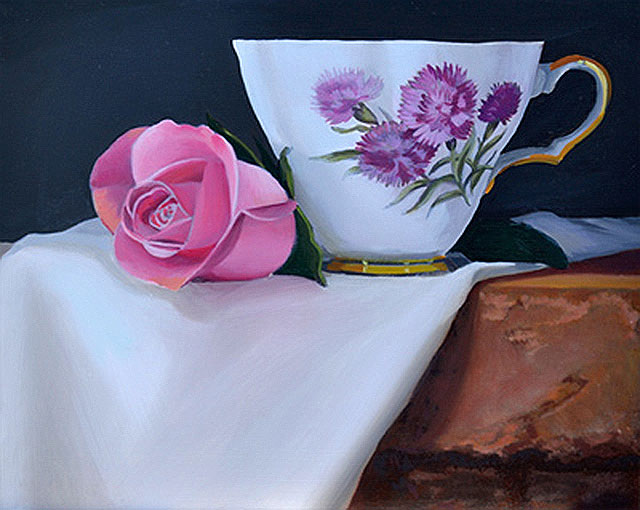 On the Easel – Pink Rose and Teacup Still Life Oil Painting Underway