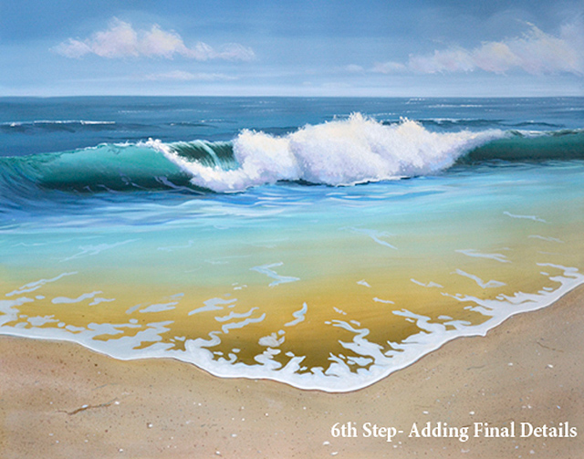 Finishing Ocean Wave Oil Painting – 6th Step Is Adding Final Details