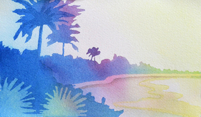 colorful watercolor of florida sunset