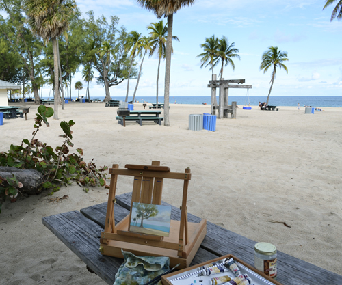plein air painting at fort lauderdale beach.