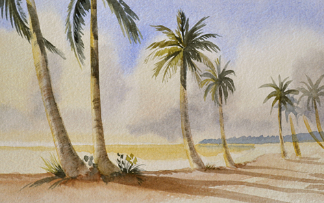 watercolor with a row of palm trees along the shore.
