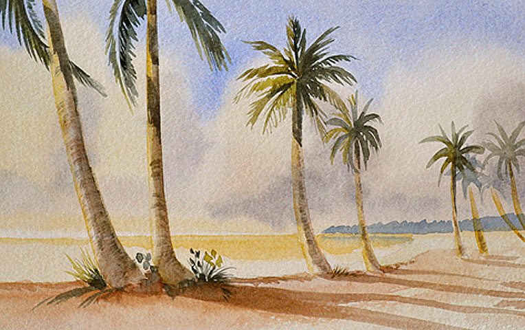 Palm tree watercolor painting p j cook artist studio for Painting palm trees