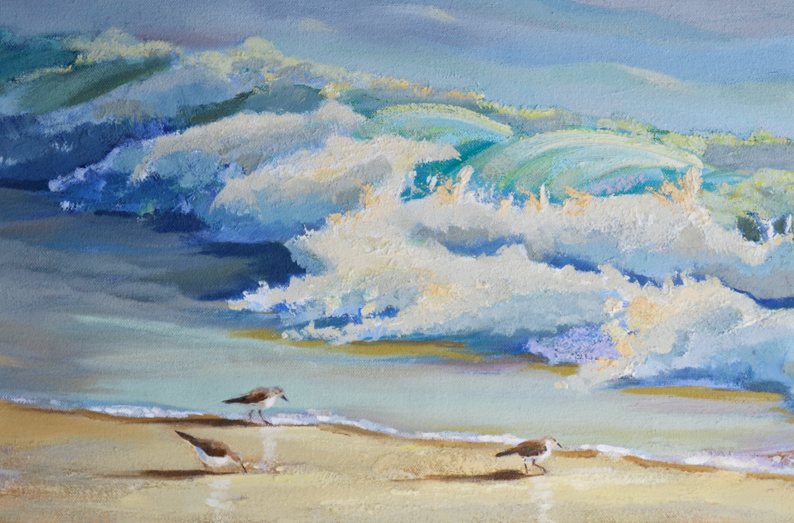Sandpiper Birds Running Along the Waves in this Oil Painting