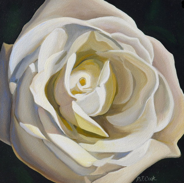 Mini White Rose Oil Painting