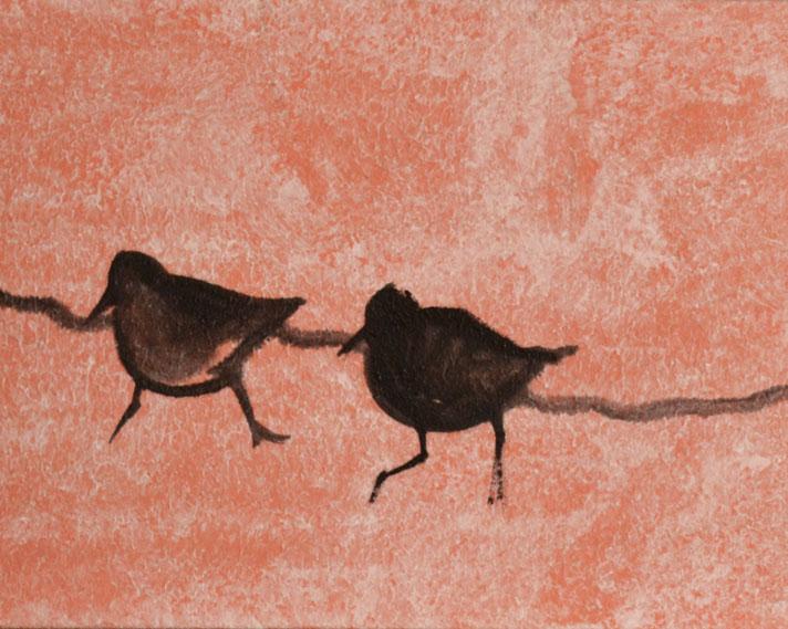 New Sandpiper Birds Oil Painting Underway