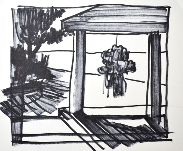 sketch in marker for flower painting by the shore