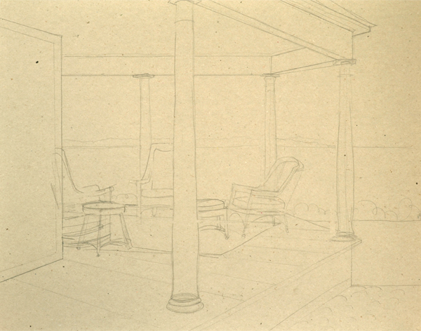 pencil drawing for view the ocean oil painting of a porch overlooking the ocean