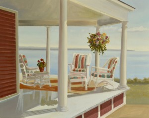 oil painting underway of porch overlooking the ocean