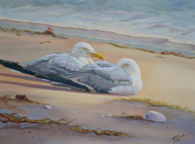 two seagulls resting after storm oil painting