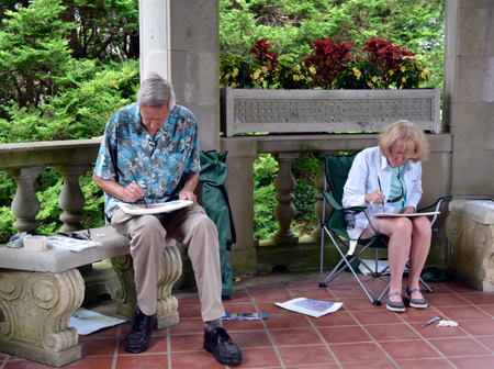 watercolor lesson in the garden area at Harkness Park in Waterford, CT