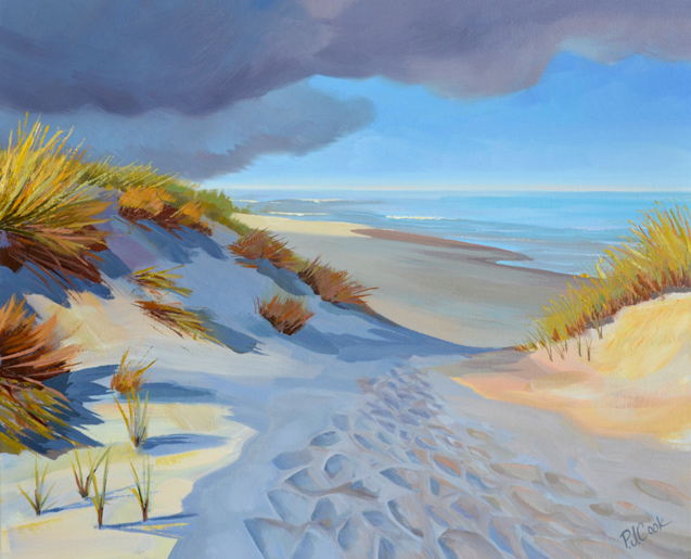 colorful painting of a beach dune path to the ocean