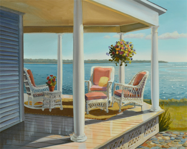 Landscape Painting of Porch Overlooking the Bay Almost Finished