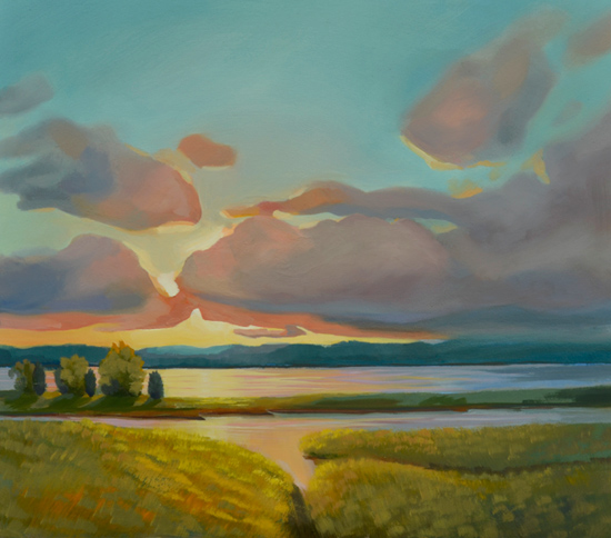 sunset on the marsh oil painting by artist P.J. Cook
