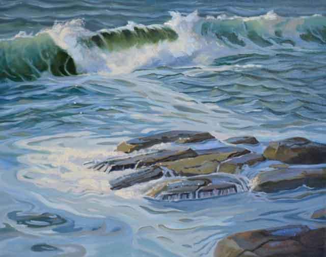wave painting underway by PJ Cook