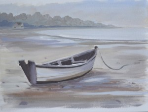color sketch for coastal landscape oil painting of a boat at low tide.