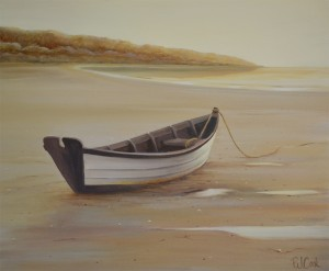 dory at low tide oil painting by PJ Cook