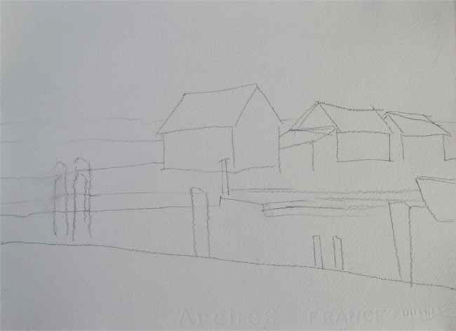 pencil-sketch-fishing-village