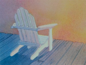 """Aglow"" watercolor of a adirondack chair on a dock at sunset."