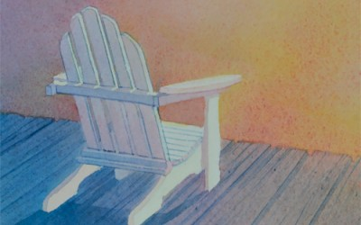 AGLOW Adirondack Chair Watercolor Painting