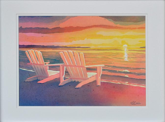 Sunset Painting Original Art Landscape Beach Adirondack Chair Watercolor