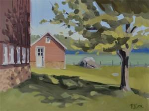 farm landscape oil painting of the milk house